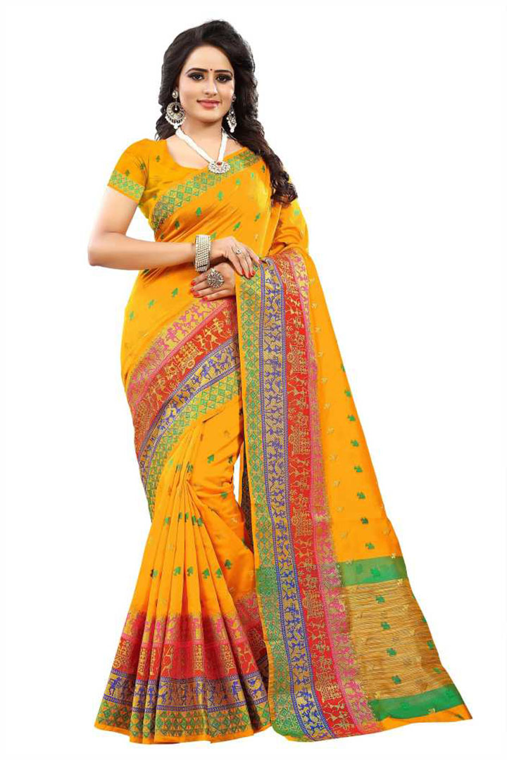 Woven Kanjivaram Acrylic Blend, Art Silk Saree (Yellow)