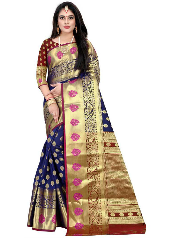 Woven Kanjivaram Art Silk Saree (Dark Blue)
