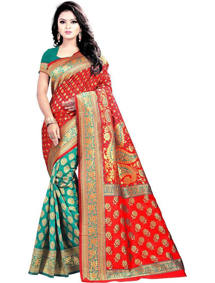 Woven Kanjivaram Art Silk Saree (Multicolor)