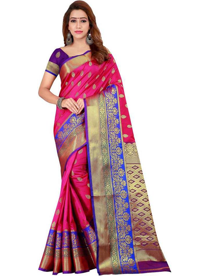 Woven Kanjivaram Art Silk Saree (Pink)