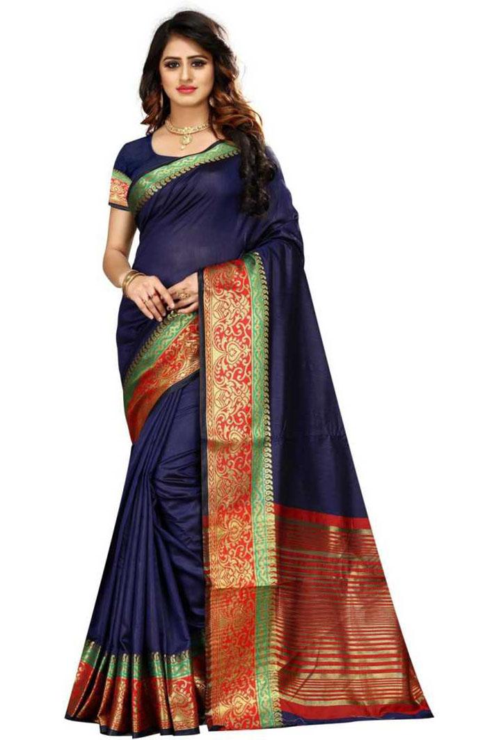 Woven Kanjivaram Cotton Linen Blend, Art Silk Saree (Blue)