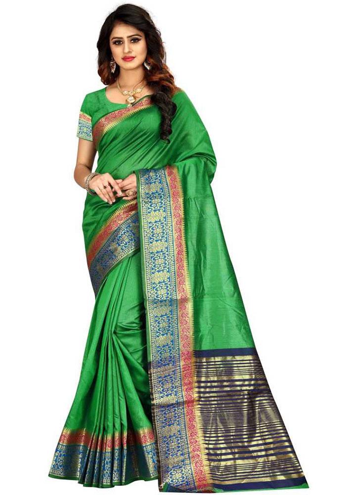 Woven Kanjivaram Cotton Linen Blend, Art Silk Saree (Green)