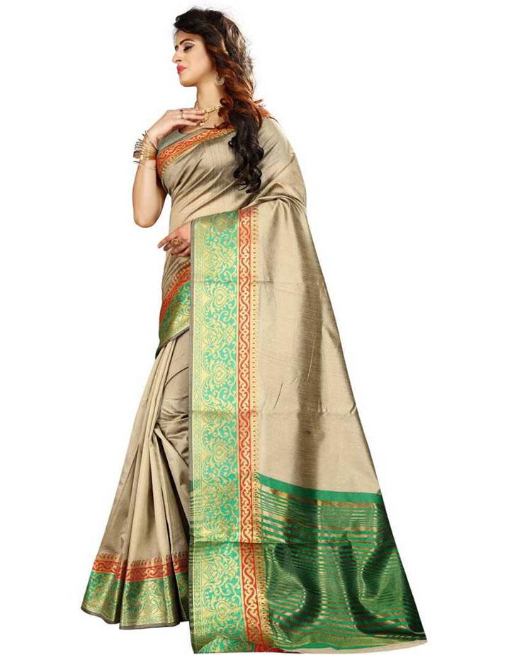 Woven Kanjivaram Cotton Linen Blend, Art Silk Saree (Grey)