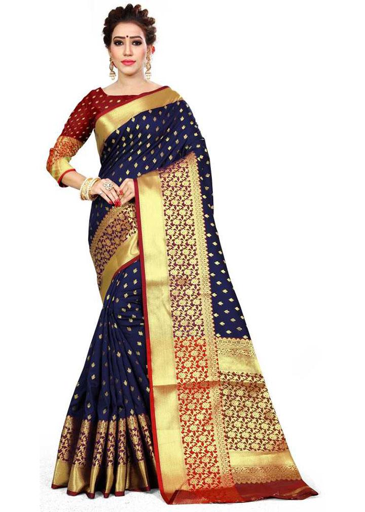 Woven Kanjivaram Jacquard, Art Silk Saree (Blue)