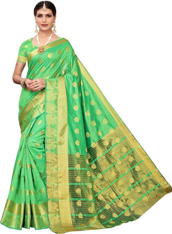 Woven Kanjivaram Poly Chanderi Saree (Light Green)