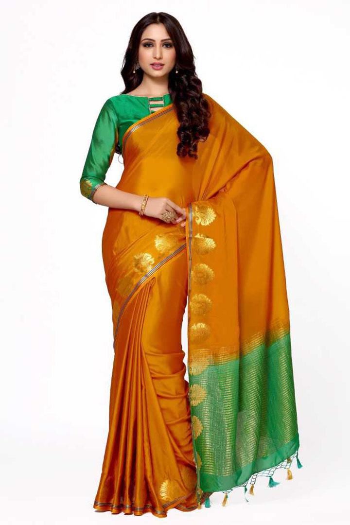 Woven Kanjivaram Poly Crepe Saree (Multicolor)