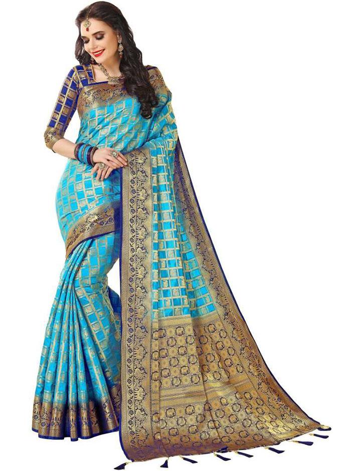 Woven Kanjivaram Poly Silk Saree (Light Blue)