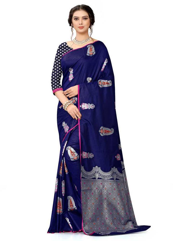 Woven Kanjivaram Silk Blend, Pure Silk Saree (Blue)