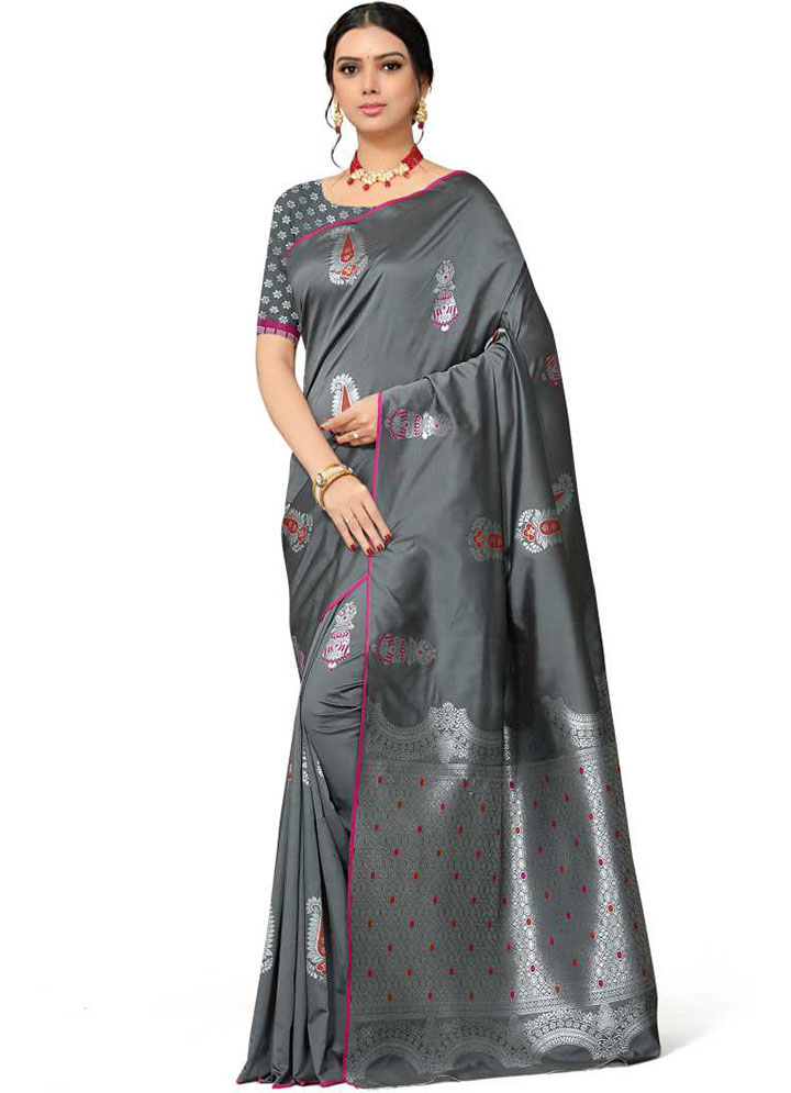 Woven Kanjivaram Silk Blend, Pure Silk Saree (Grey)