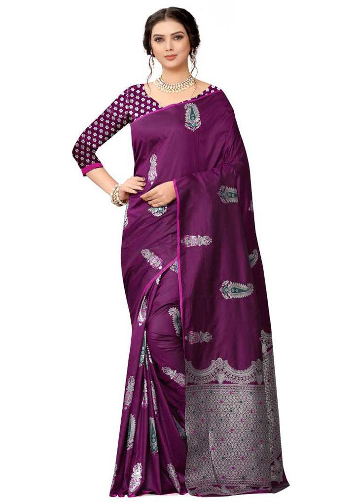 Woven Kanjivaram Silk Blend, Pure Silk Saree (Purple)