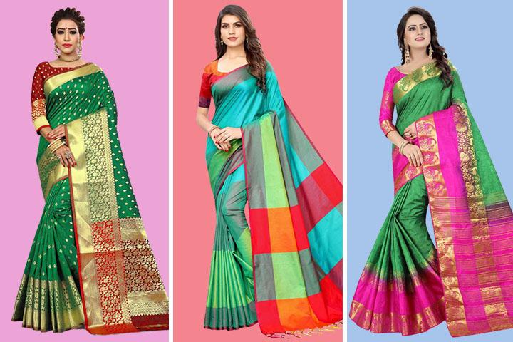 Top 20 Green Kanjivaram Sarees For Royal Look