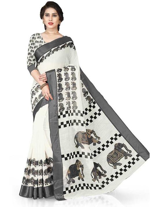 Animal Print Fashion Cotton Blend, Polycotton White Saree