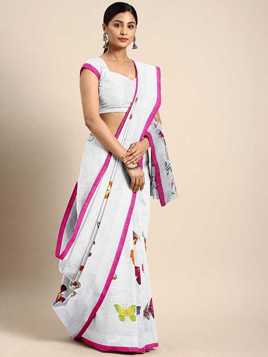 Animal Print Fashion Cotton Linen Blend White Saree