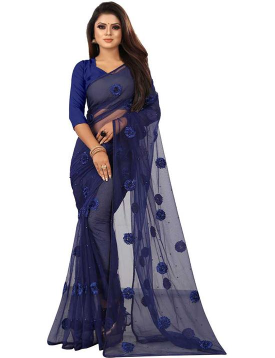 Applique Bollywood NetNavy BlueSaree