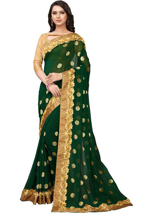 Applique Bollywood Poly Georgette Green Saree