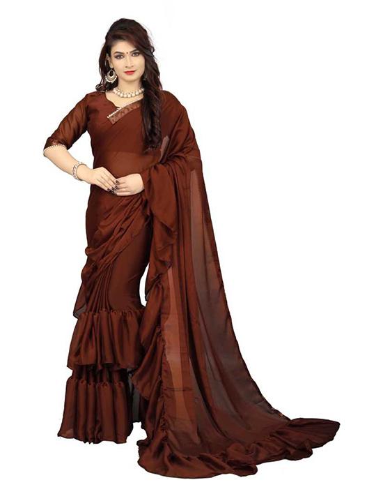 Applique Bollywood Poly Silk Brown Saree