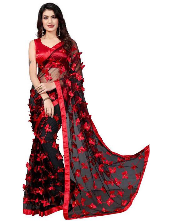 Applique Fashion Net Black Saree