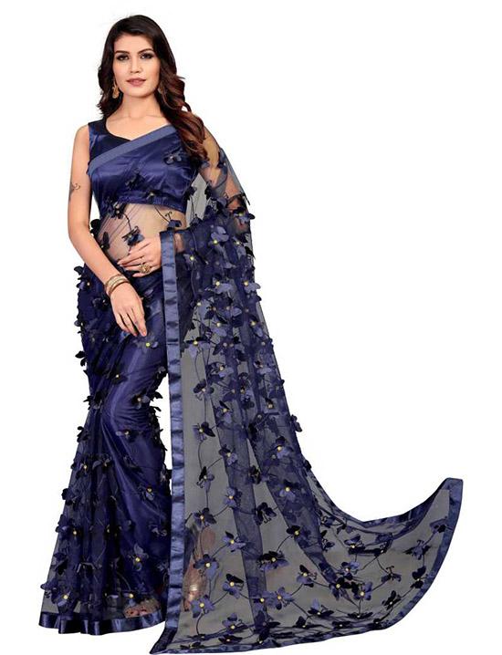 Applique Fashion Net Navy Blue Saree