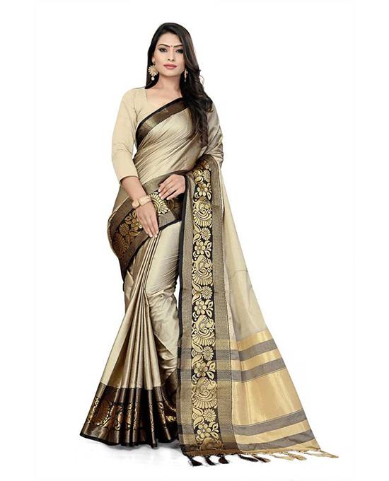 Art Silk Beige Colour Saree