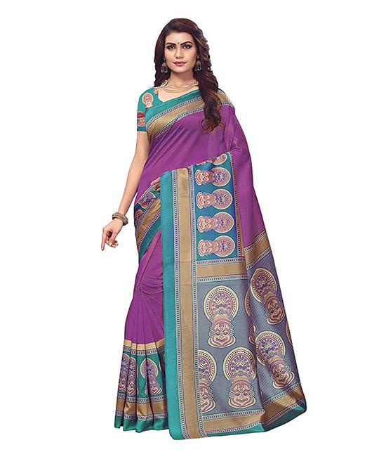 Art Silk Printed Kalamkari Lavender Saree