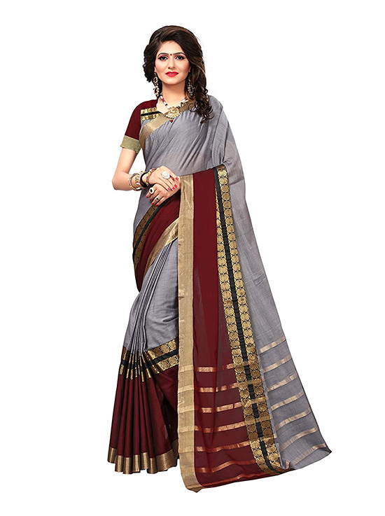 Art Silk Silver Saree with Blouse Piece