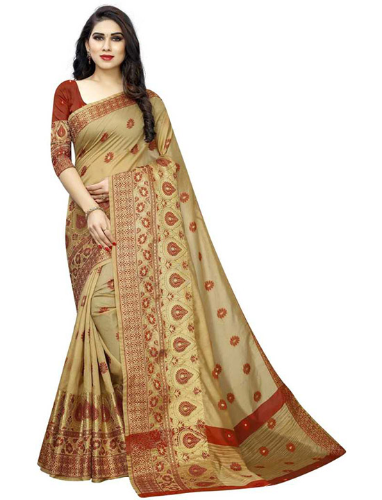 Banarasi Art Silk, Cotton Silk Beige Colour Saree