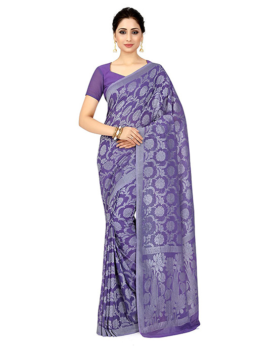 Banarasi Chiffon Lavender Saree