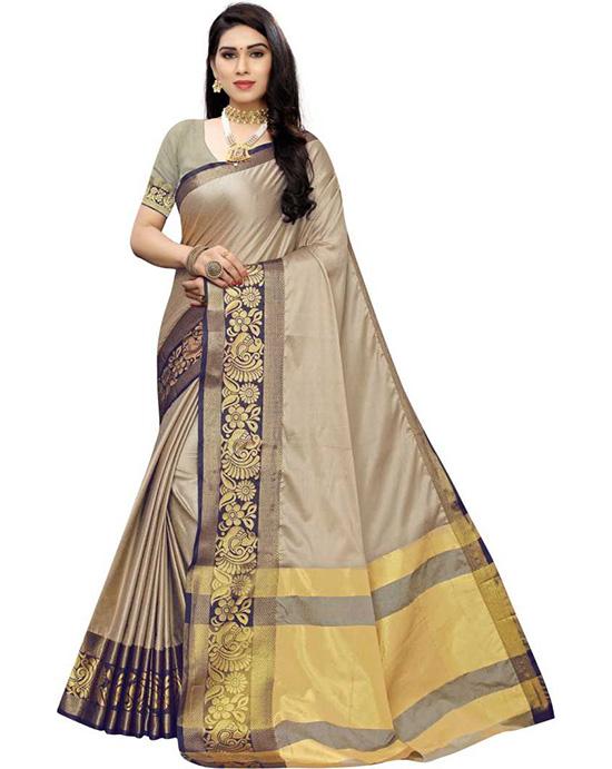 Banarasi Cotton Silk Beige Colour Saree