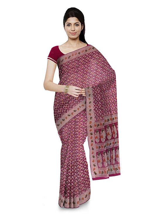 Banarasi Handloom Kora Silk Pink Saree