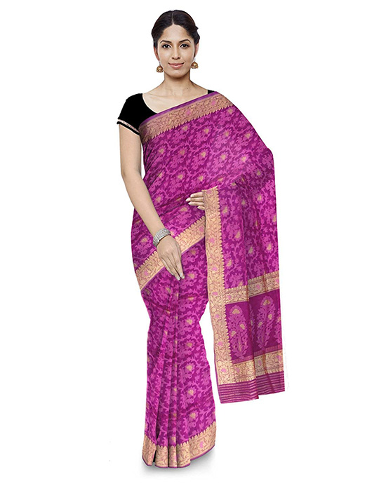 Banarasi Handloom Kora Silk Purple Saree