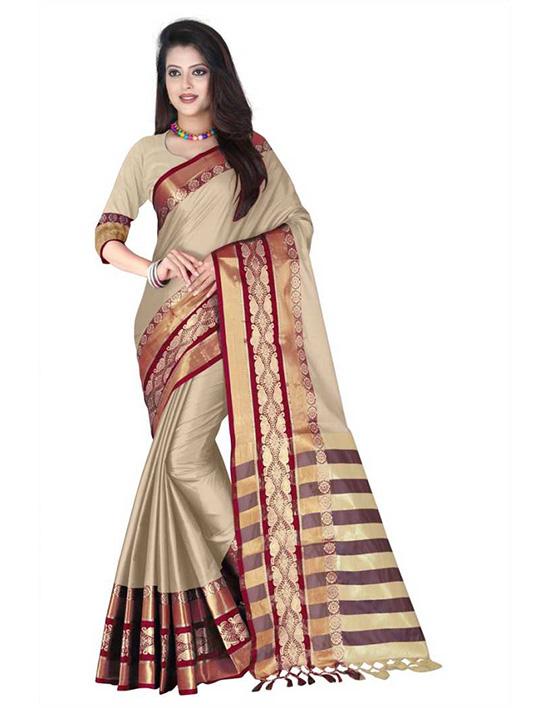 Banarasi Handloom Pure Cotton, Cotton Silk Beige Colour Saree