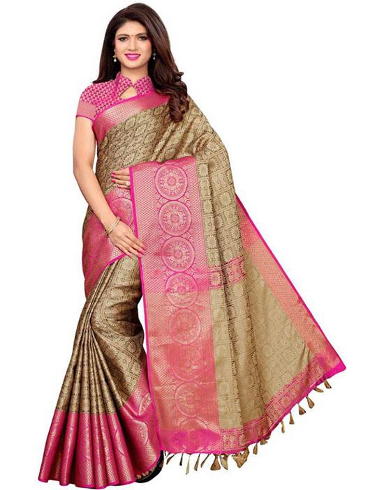 Banarasi Jacquard, Poly Silk Beige Color Saree