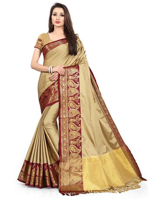 Banarasi Jacquard, Poly Silk Beige Colour Saree