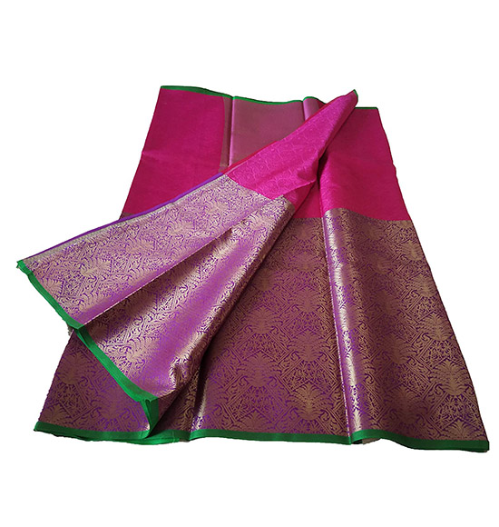 Banarasi Kora Muslin Kanchi Style Handloom Weaving Saree