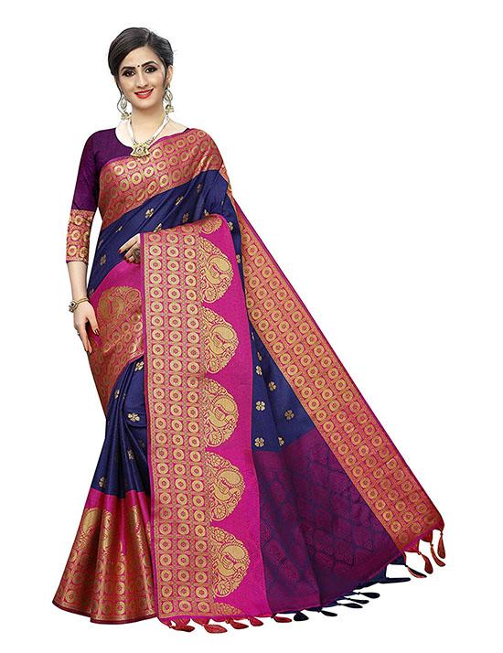 Banarasi Kora Muslin Silk Saree With Blouse Piece