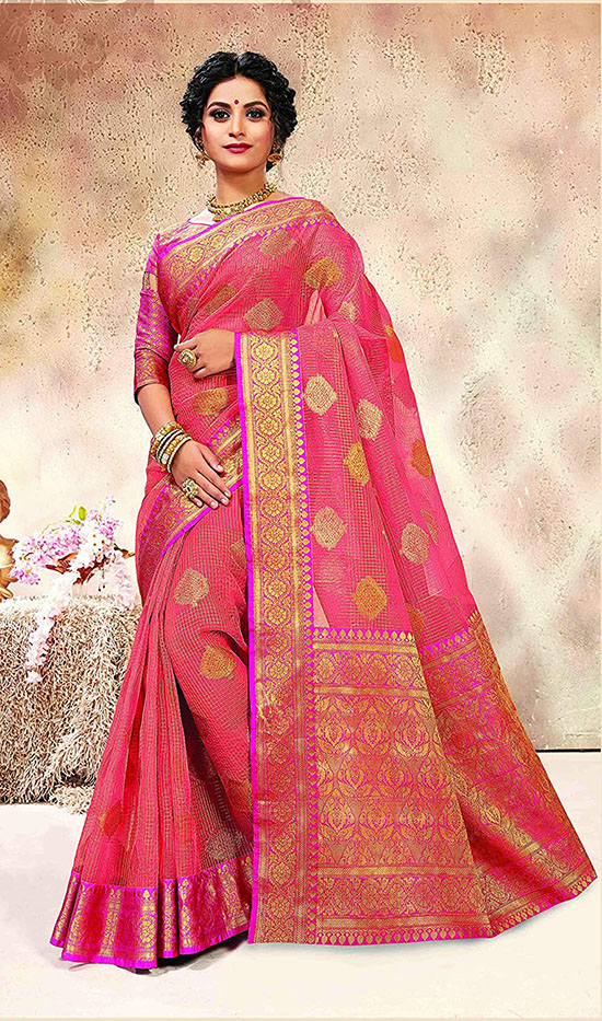 Banarasi Kora Silk Jacquard Work Peach Saree