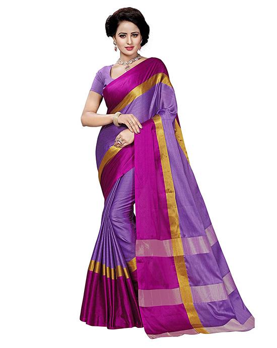 Banarasi Plain Art Silk Lavender Saree