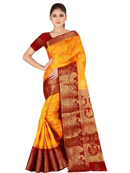 Banarasi Poly Silk Mustard Saree