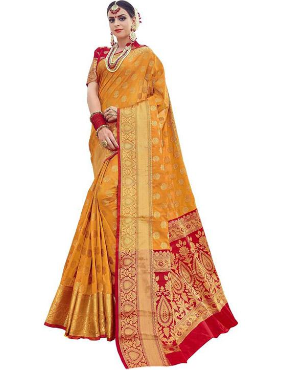 Banarasi Silk Blend Mustard Saree