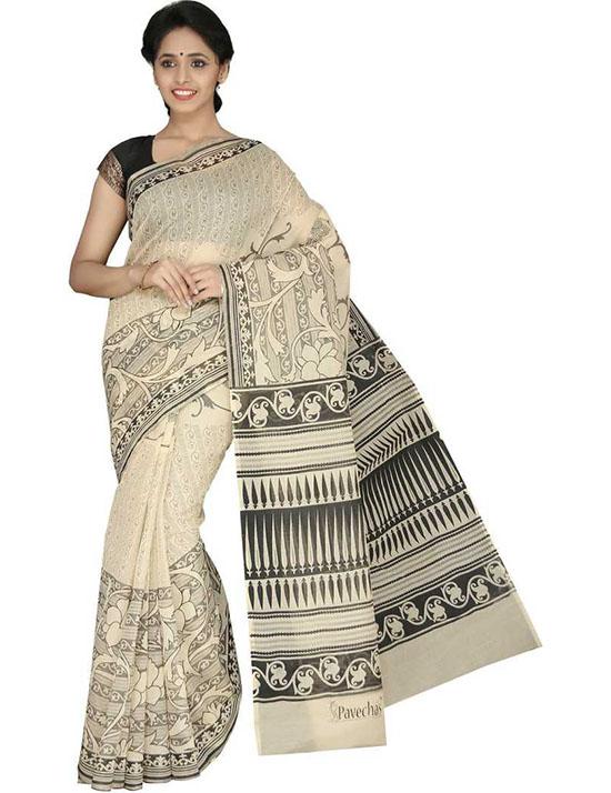 Beige Printed Mangalagiri Cotton Blend Saree