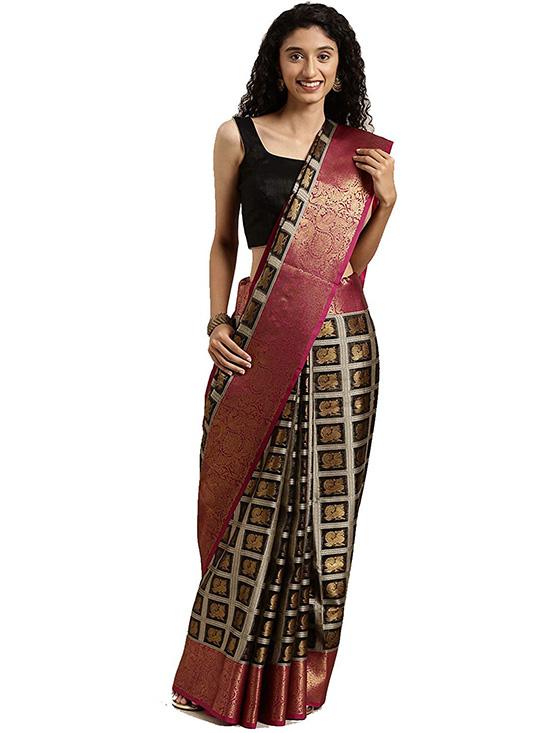 Black Colour Kora Muslin Silk Saree