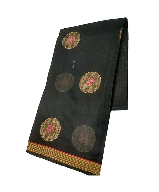 Black Kora Muslin Saree for Women