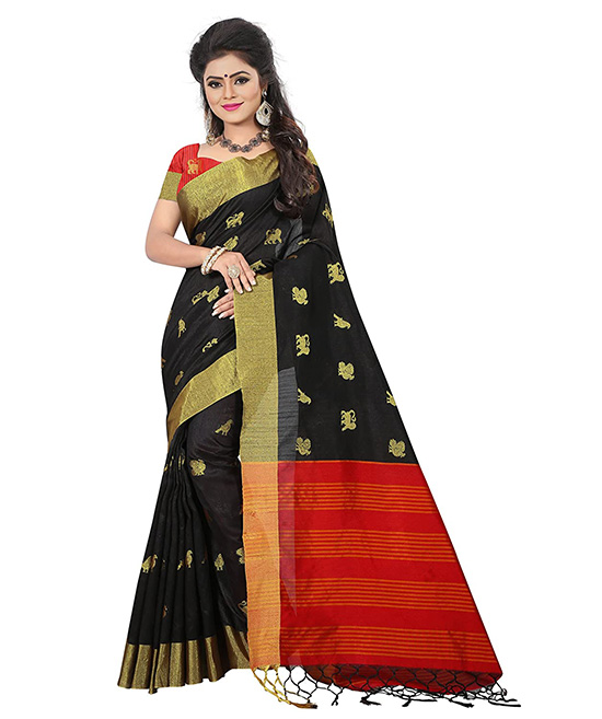 Black Kora Silk Traditional Sarees