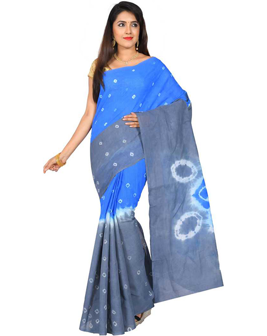 Blue Sungudi Cotton Blend Saree