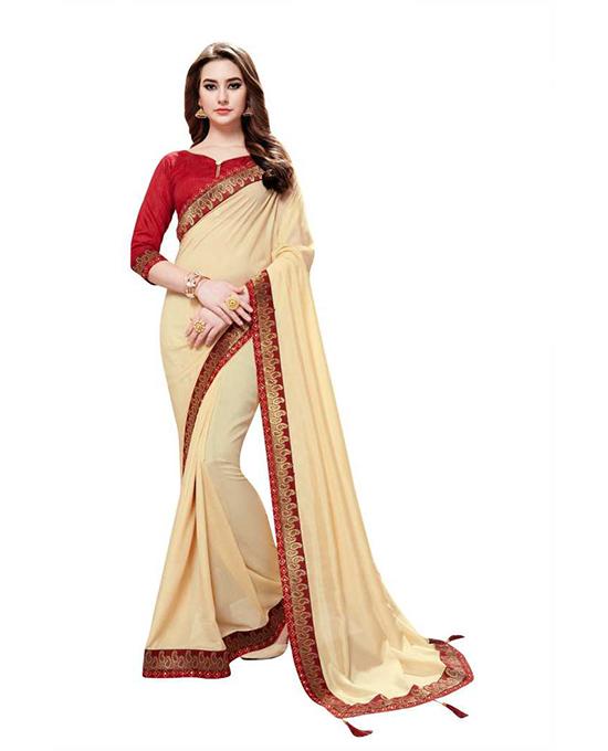 Bollywood Cotton Blend, Poly Silk Beige Colour Saree