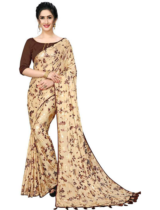 Bollywood Lycra Blend Beige Colour Saree