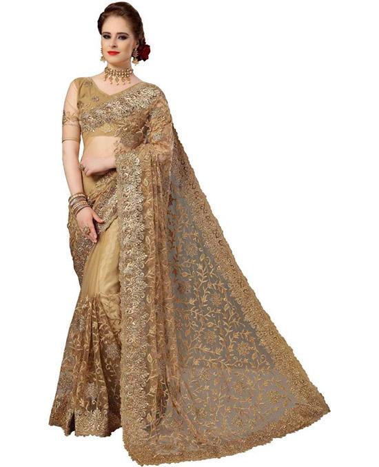 Bollywood Net Beige Colour Saree