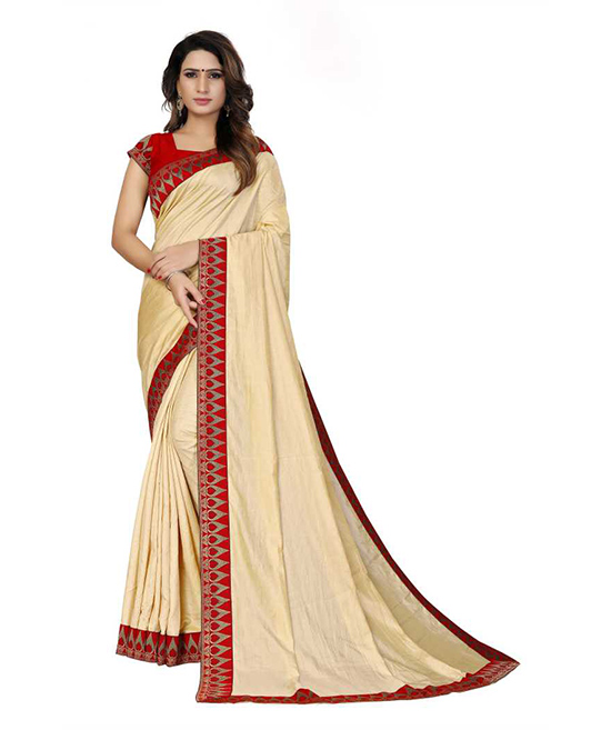 Bollywood Poly Silk Beige Colour Saree