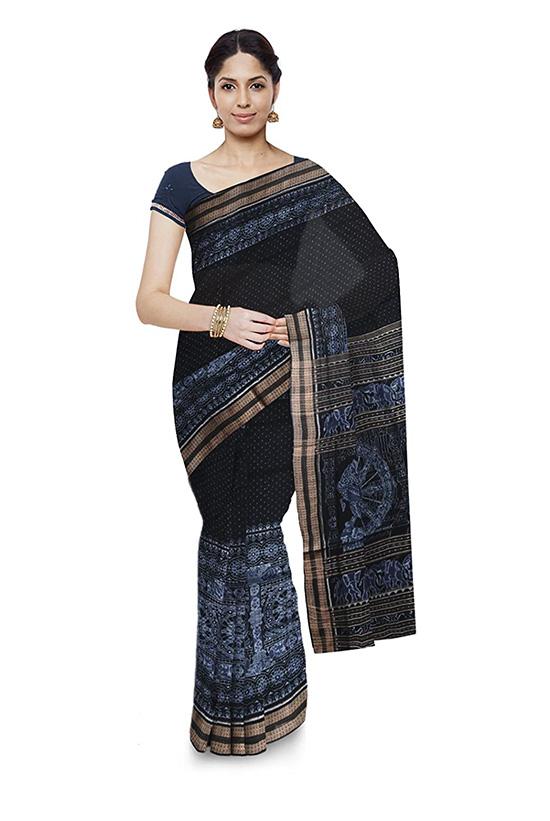 Bomkai Handloom Cotton Black Saree