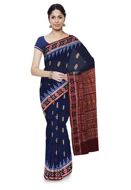 Bomkai Handloom Cotton Blue Colour Saree